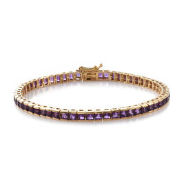 Limited Edition- PRINCESS CUT Amethyst Bracelet (Size 7.5) in 14K Gold Overlay Sterling Silver 9.000 Ct, Silver wt 8.75 Gms.