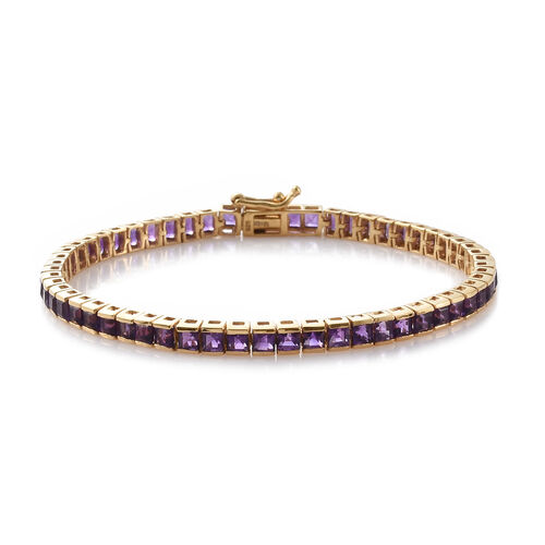 Limited Edition- PRINCESS CUT Amethyst Bracelet (Size 7.5) in 14K Gold Overlay Sterling Silver 9.000 Ct, Silver wt: 8.75