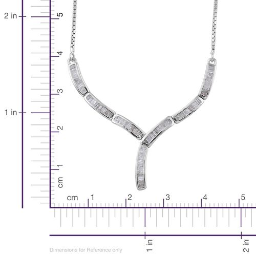 Diamond (Bgt) Adjustable Necklace (Size 18) in Platinum Overlay Sterling Silver 0.750 Ct. Silver wt. 5.00 Gms.