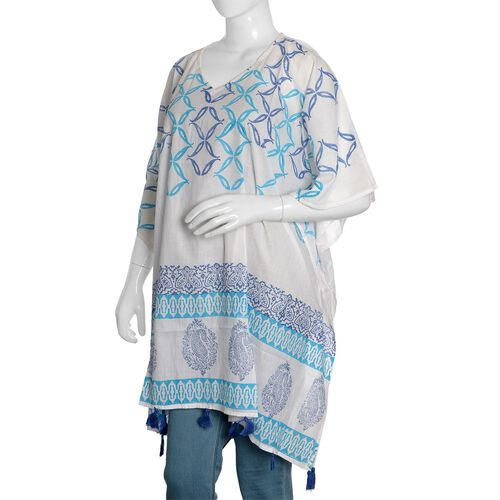 New Season-100% Cotton Light Blue, Dark Blue and White Colour Hand Block Medellin and Paisley Printed Kaftan with Tassels (Free Size)