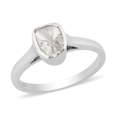 0.25 Ct Polki Diamond Solitaire Ring in Platinum Plated Sterling Silver