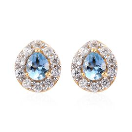 Santa Maria Aquamarine and Natural Cambodian Zircon Stud Earrings (with Push Back) in 14K Gold Overl
