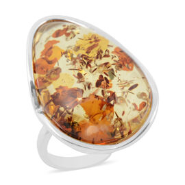 Extremely Rare AAA Champagne Baltic Amber (Pear) Adjustable Ring in Sterling Silver, Silver wt 10.50