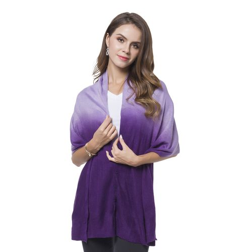 Italian Designer Inspired - Dark and Light Purple Colour Buttons Embellished Shawl (Size 156X50 Cm)