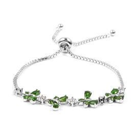 Designer Inspired- Limited Edition- Russian Diopside (Pear), Natural Cambodian White Zircon Butterfly Adjustable Bracelet (Size 6.5 - 7.5) in Sterling Silver 2.630 Ct, Silver wt 5.00 Gms