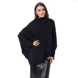 Mega Day Deal- Designer Inspired- Black Colour Triangular Collor Poncho with Tassels (Size 75x60 Cm)