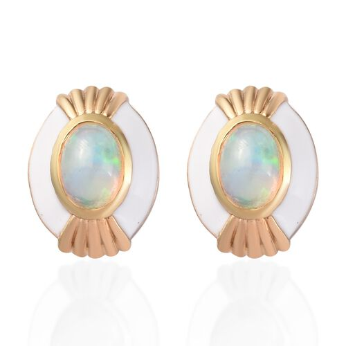 Ethiopian Welo Opal Enamelled Earrings (with Push Back) in 14K Gold Overlay Sterling Silver 1.00 Ct.