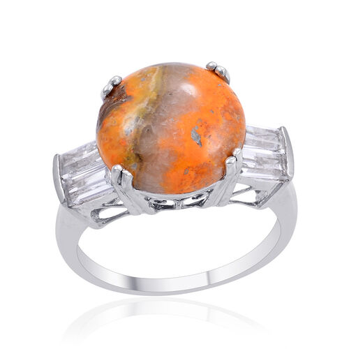 Bumble Bee Jasper (Rnd 6.75 Ct), White Topaz Ring in Platinum Overlay Sterling Silver 8.000 Ct.
