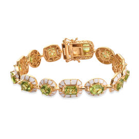 14.50 Ct Hebei Peridot Enamelled Station Bracelet in Gold Plated Sterling Silver 7 Inch