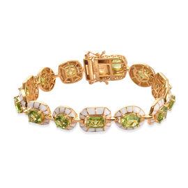 Hebei Peridot Enamelled Bracelet (Size 7) in 14K Gold Overlay Sterling Silver 14.50 Ct, Silver wt 22