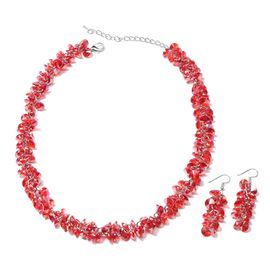 2 Piece Set - Ruby Colour Beads Necklace (Size 19 with 2.5 inch Extender) and Hook Earrings