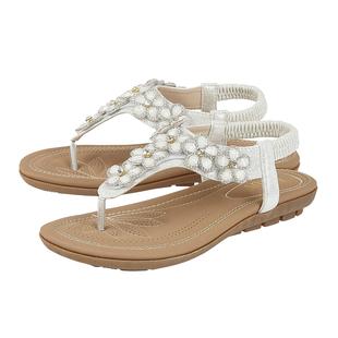 Lotus Daisy White Flat Toe-Post Sandals (Size 3)