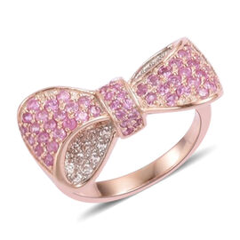 Pink Sapphire and Natural White Cambodian Zircon Bowknot Ring in 14K Rose Gold Overlay Sterling Silv