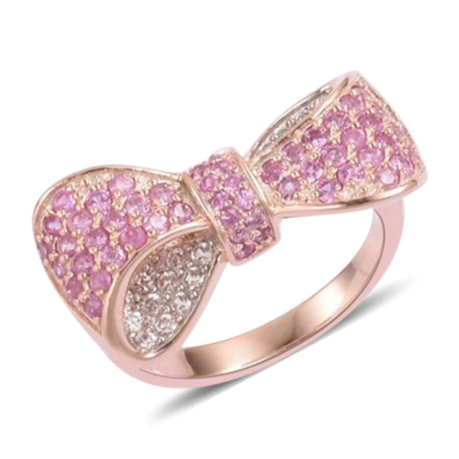 Pink Sapphire and Natural White Cambodian Zircon Bowknot Ring in 14K ...