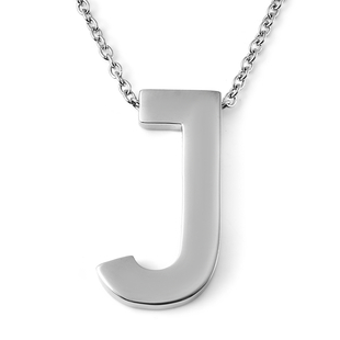 Initial J Necklace (Size - 20) in Stainless Steel