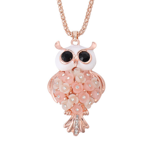 Black and White Austrian Crystal Enamelled Hedwig Pendant with Chain (Size 30 with Extender) in Rose