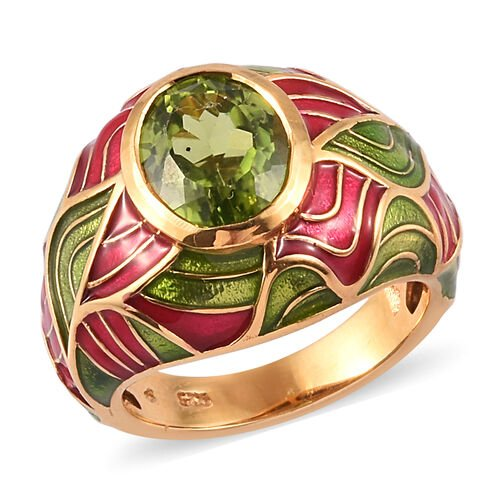 2.50 Ct AA Hebei Peridot Enamelled Dome Ring in Gold Plated Sterling Silver