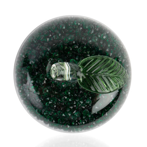 Green Crystals filled Glass Apple Figurine