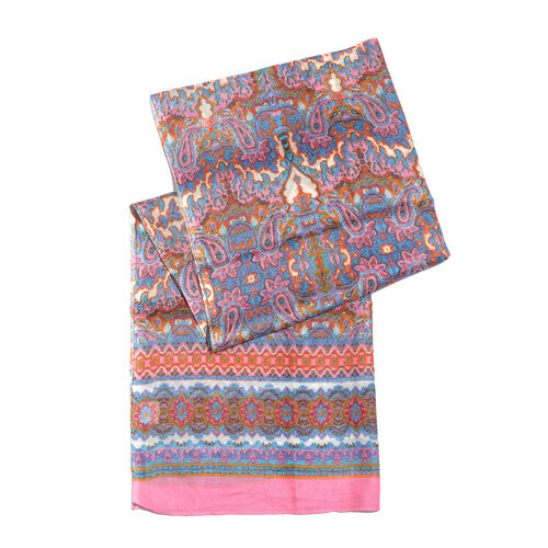 Set of 2 - Pink, Blue and Multi Colour Floral and Paisley Pattern Scarf (Size 180X70 Cm), Blue and Grey Polka Dots Pattern Scarf (Size 160X105 Cm)
