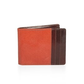 100% Genuine Leather Red and Brown Colour Bi-Fold Mens Wallet (Size 12x9 Cm)