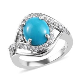 One Time Deal- Arizona Sleeping Beauty Turquoise (Ovl 10x8mm) and Natural Cambodian Zircon Ring in P