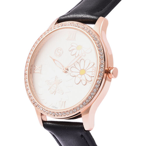 STRADA Japanese Movement White Austrian Crystal Studded Flower Bee Dial Water Resistant Watch with Black Colour Strap
