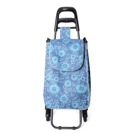 Blue Tri Wheeled Leisure Shopping Trolley With Fold Down Seat (Size 95x38x51.5cm) - Flower