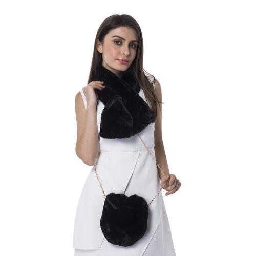 Ultra Soft Faux Fur Handbag and Scarf Set - (Bag size: 20x22cm) - Black