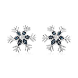 Blue Diamond Snowflake Earrings in Platinum Plated Silver 0.10 Ct