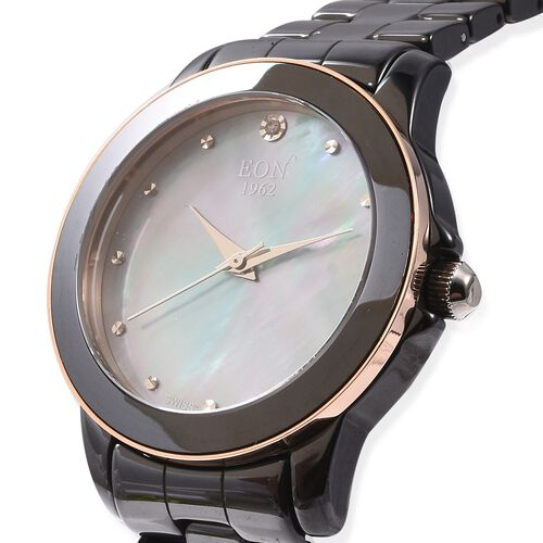 EON 1962 Swiss Movement Water Resistance Diamond Studded Watch with Grey Mother of Pearl Dial, Blue Sapphire Glass and Black Ceramic Strap in Dual Tone Plating