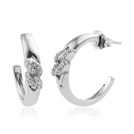 Natural Cambodian Zircon (Rnd) J Hoop Earrings (with Push Back) in Platinum Overlay Sterling Silver