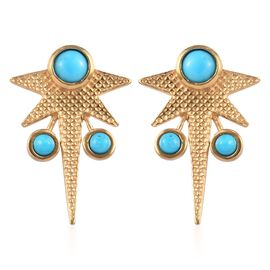 0.83 Ct Arizona Sleeping Beauty Turquoise Aquila Star Earrings in 14K Gold Plated Sterling Silver