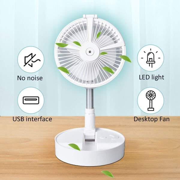 Portable & Adjustable Fan with Mist, Oscillation Function, Rechargeable Battery and Four Wind Speed