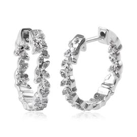 Diamond (Rnd) Olive Leaf Hoop Earrings in Platinum Overlay Sterling Silver 0.33 Ct.