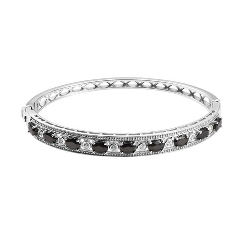 2.75 Ct Elite Shungite and Zircon Stacker Bangle in Platinum Plated Silver 18.70 Grams 7.5 Inch