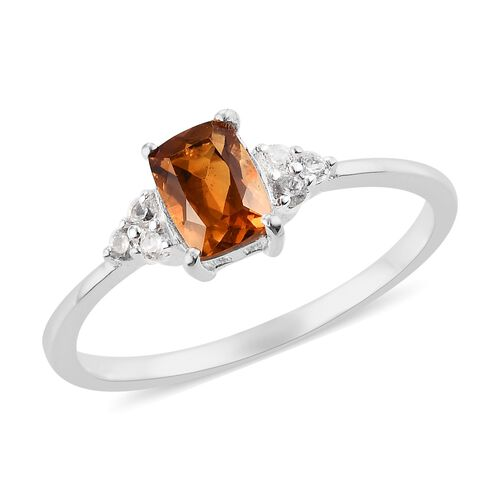 AA Red Citrine and Natural Cambodian Zircon Ring in Sterling Silver 1.00 Ct.