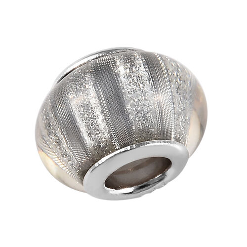 Charmes De Memoire Silver Murano Style Glass Bead Charm in Platinum Overlay Sterling Silver