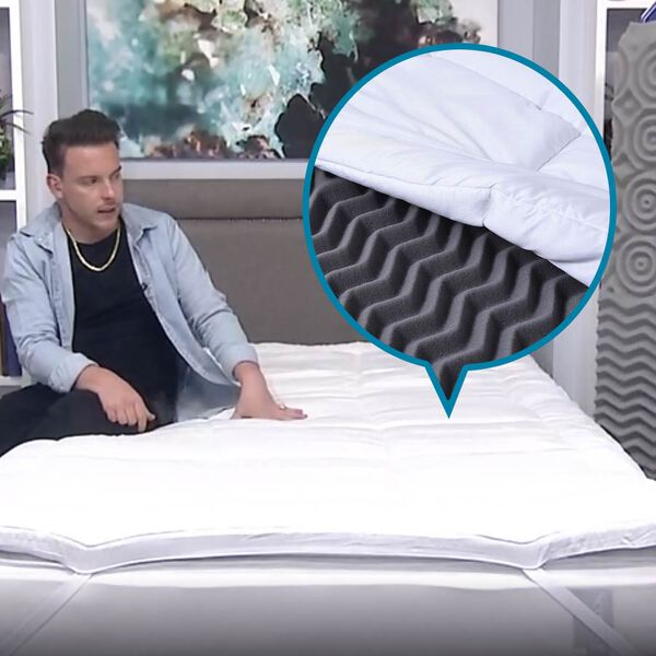 5 Zone 2 in 1 Hybrid Mattress Topper with Shungite Infused Memory Foam & Down Alternative Cover Size Double - White