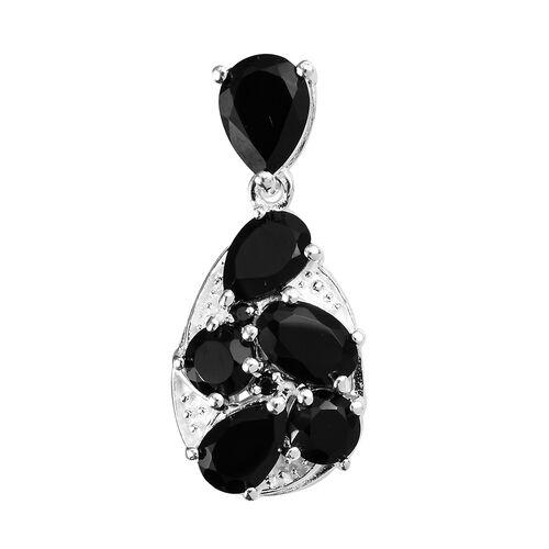3.25 Ct Boi Ploi Black Spinel Drop Pendant in Silver