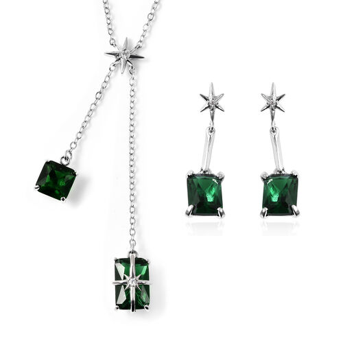 Set of 2 - Simulated Green Sapphire Necklace (Size 20 with 3 inch Extender) & Earrings (with Push Ba