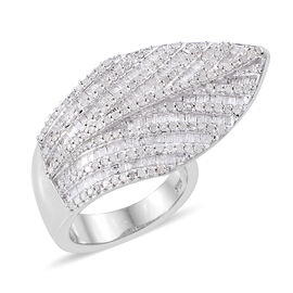 1.50 Ct Diamond Feather Leaf Ring in Platinum Plated Sterling Silver 11.42 Grams