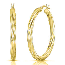 14K Gold Overlay Sterling Silver Twisted Hoop Earrings (with Clasp), Silver wt 6.22 Gms