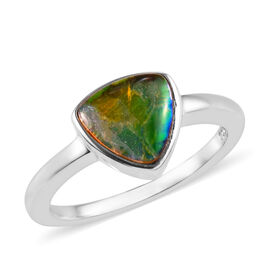 1.50 Carat Canadian Ammolite Solitaire Ring in Platinum Plated Sterling Silver