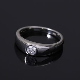 J Francis Platinum Overlay Sterling Silver Band Ring Made with SWAROVSKI ZIRCONIA