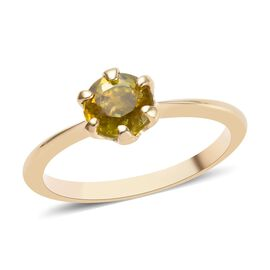 1 Carat AA Sava Sphene Solitaire Ring in 9K Yellow Gold