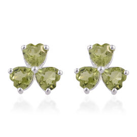 2.50 Carat Chinese Peridot 3 Heart Stud Earrings in Sterling Silver With Push Back