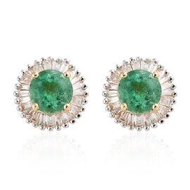 Signature Collection - ILIANA 18K Yellow Gold AAA Kagem Zambian Emerald (Rnd) and Diamond (SI/G-H Wi
