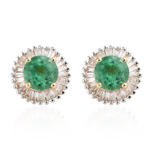 Signature Collection - ILIANA 18K Yellow Gold AAA Kagem Zambian Emerald (Rnd) and Diamond (SI/G-H With Screw Back) Stud Earrings 1.250 Ct.
