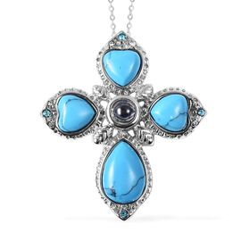 21 Carat Howlite and and White and Blue Austrian Crystal and Magnifying Glass Cross Pendant with Cha