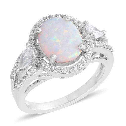 Karis Created Opal (2.36 Ct),Simulated Diamond Brass Ring  3.260  Ct.